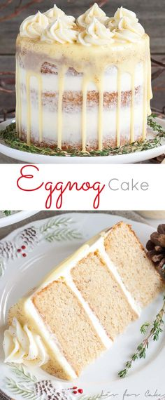 This rum spiked Eggnog Cake with cream cheese frosting and white chocolate ganac., Desserts, This rum spiked Eggnog Cake with cream cheese frosting and white chocolate ganache is just the thing to warm you up this Holiday season! Holiday Baking, Christmas Desserts, Christmas Treats, Christmas Baking, Christmas Popcorn, Christmas Cookies, Christmas Appetizers, Halloween Appetizers, Holiday Appetizers