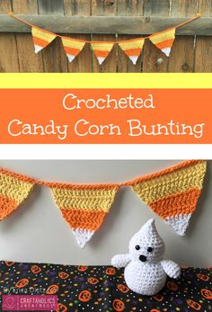 DIY Crocheted Candy Corn Halloween Banner || Free crochet pattern and tutorial. This is perfect for mantels, parties, and doorways!
