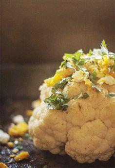 Receta 341: Coliflor al horno con mantequilla, limón, perejil y huevo duro » 1080 Fotos de cocina