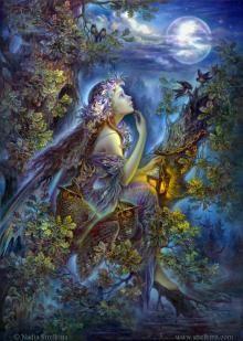 Как живые изваянья, в искрах лунного сиянья чуть трепещут очертанья сосен, елей и берез; Вещий лес спокойно дремлет, яркий блеск луны приемлет, и роптанью ветра внемлет, весь исполнен тайных грез.  . А луна всё льет сиянье, и без муки, без страданья чуть трепещут очертанья вещих сказочных стволов; Все они так сладко дремлют, безучастно стонам внемлют. И с спокойствием приемлют чары ясных, светлых снов.  ( стихи Константин Бальмонт)