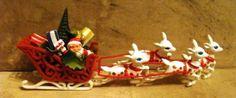 Vintage 1950s 1960s Christmas Pick Santa in His Sleigh w 4 Plastic Reindeer CUTE
