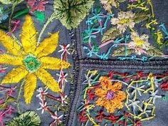 One of the kind embroidered denim jacket embroidery jeans Denim Jacket Embroidery, Embroidered Denim Jacket, Hand Embroidery Flowers, Diy Embroidery, Hippie Style, Hippie Boho, Denim Noir, Streetwear Jackets, Recycled Denim