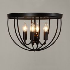 Rustic 4-Light Black Metal Round Cage Semi Flush Mount Ceiling Light - Semi Flush Mount - Ceiling Lights - Lighting