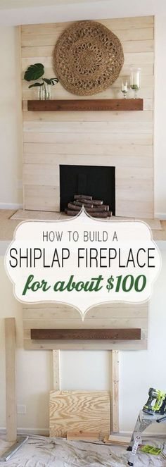How to shiplap a fireplace on a budget. This beautiful modern farmhouse style f. - How to shiplap a fireplace on a budget. This beautiful modern farmhouse style fireplace is an easy - Fireplace Redo, Shiplap Fireplace, Faux Shiplap, Fireplace Remodel, Fireplace Ideas, Diy Faux Fireplace, Farmhouse Fireplace, Fireplace Diy Makeover, Faux Mantle