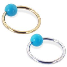 real gold Captive Ring with Turquoise(Imitation) ball Helix Piercing Jewelry, Beaded Rings, Body Jewelry, Ear Piercings, Solid Gold, Body Art, Turquoise, Earrings, Stuff To Buy