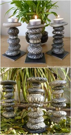 There is an endless way to beautify the home by the rocks.You can give a stunning look to your home, by the river rocks, you can make a home decor crafts by your own hands.The candles are made from different designing rocks.First, you will design the rocks and then place them step by step to give a candle shape.It enhances the glory of home.