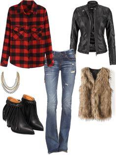 faux fur vest, leather jacket and fur outfit, flare jeans outfit, plaid and fur… Plaid Shirt Outfits, Jean Jacket Outfits, Fall Fashion Outfits, Winter Outfits, Women's Fashion, Plaid And Leather, Leather Jacket, Flare Jeans Outfit, Buffalo Plaid Shirt