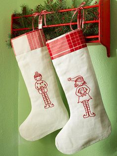 Christmas Elf Stockings from Better Homes and Gardens. Lovely redwork! Good idea for hanging too.