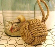 Coastal Decor, Beach, Nautical Decor, DIY Decorating, Crafts, Shopping | Completely Coastal Blog: Tying The Nautical Monkey Fist Knot with Rope