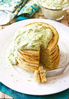 Savory Corn Pancakes with Avocado Cream