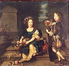 Marie-Anne de Bourbon et Louis, comte de Vermandois, deux des enfants de Louis XIV et Louise de La Valliere