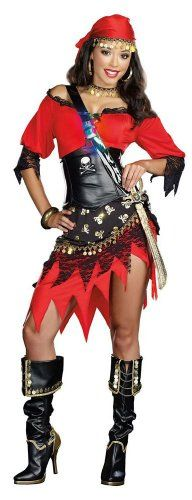 Rum Punch Pirate (As Shown;Medium) Includes Hip Scarf, Head Scarf, Neckband, Cross Body Sword Holster And Light-Up Shot Glass.  #Dreamgirl #Apparel