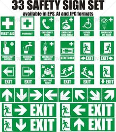 Buy 33 Emergency Sign by szabolehel on GraphicRiver. Here is a set of 33 most used emergency sign. Every sign is available in JPG, AI and EPS format. Health And Safety Poster, Safety Posters, Road Safety Quotes, Visual Management, Emergency Management, Safety Pictures, Emergency Exit Signs, Safety Slogans, Home Safety Tips
