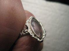 Vintage 14kt White Gold Smoky Lavender Ring -Unique Engagement Ring - Marquis Yttrium Aluminum Garnet (YAG) Art Deco Ring, size 6