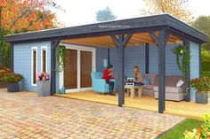Springfield log cabin, garden office, Log Cabins for sale, Free Delivery Garden Buildings, Garden Structures, Outdoor Structures, Summer House Garden, Summer Houses, Backyard House, Grey Painted Walls, Contemporary Garden Rooms, Log Cabins For Sale