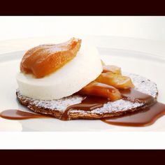 Baked pear in salted caramel, vanilla parfait on a crispy puff pastry !    Who's in, #classic #beauty :)