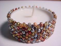 Glass Seed Bead Tea Light Candle Holder Cover in Many Colors