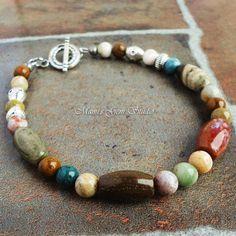 Ocean Jasper Bracelet for Men Multi Color by mamisgemstudio, $26.95