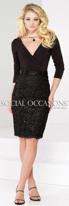 Social Occasions by Mon Cheri Fall 2015 - Style No. 215806 #blackshorteveningdresses