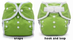 A diaper cover.  This waterproof cover made from polyurethane laminate (PUL) fastens over a flat, prefold, or fitted diaper.  This shows velcro and snap closures.  The white spots on the front are snaps used to adjust the size of the cover.