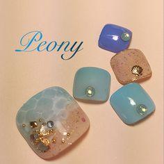 gel nail design*ドロップアートでキラキラ砂浜と海辺♡