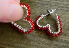 Heart shaped hoops with red beads silver plated wire Bar Earrings, Statement Earrings, Handmade Jewelry, Handmade Items, Unique Jewelry, Lapis Lazuli Earrings, Silver Bars, Beautiful Necklaces, Valentine Gifts