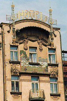 The Art Nouveau Hotel Europa, Prague Architecture Art Nouveau, Art And Architecture, Architecture Details, What Is Art Nouveau, Trieste, Europe Centrale, Budapest, Prague Czech Republic, Mural Painting