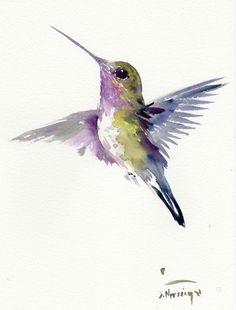 Hummingbird, 12 X 9 in, one of a kind watercolor art by ORIGINALONLY on Etsy