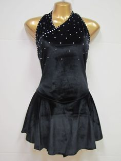 COMPETITION ICE FIGURE SKATING DRESS Black w Crystals Halter Adult Medium AM NWT #FlyingCamelDesigns