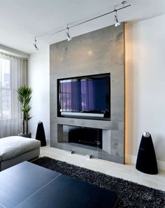 Best Modern Fireplace TV Wall Layouts - Awesome Best Fireplace TV Wall Ideas – The Good Advice For Mounting TV above Fireplace – Modern living room with electric fireplace enclosed under TV wall Image 31 Narrow Living Room, Living Room Tv, Living Room With Fireplace, Small Living, Tv Above Fireplace, Wall Mount Electric Fireplace, Electric Fireplaces, Foyer Mural, Contemporary Gas Fireplace