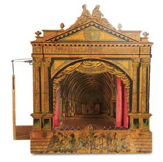 Curtain Call- The Collection of Billie Nelson: 274 German Toy Theatre Attributed to Schreiber with Orchestra Design on Proscenium