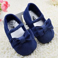 Tollder Solid Bowknot Crib Shoes Elastic Soft Sole Baby Shoes Prewalkers 0-18M Free Shipping alishoppbrasil