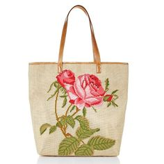 Clever Carriage Needlepoint Tote with Leather Trim