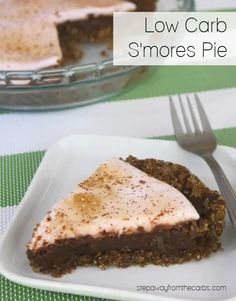 This low carb S'mores Pie is a sugar free recipe that requires just six ingredients! Ooey gooey deliciousness!