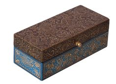 """Bulk Wholesale Handmade 8"""" Rectangular Mango-Wood Golden & Blue Colored Jewelry Box Decorated with Brass Sheet with Old-World Motif Embossing and Cone-Painting Art – Ethnic-Look Boxes from India"""