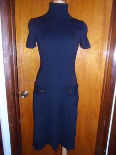 Victoria's Secret Moda International Black Turtleneck Pleated Sweater Dress M #ModaInternational #SweaterDress #WeartoWork