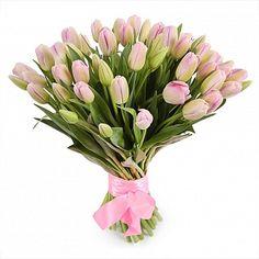 Букет нежно-розовых тюльпанов.