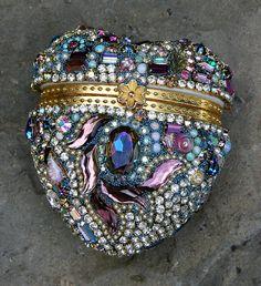 Stunning Large Jeweled Rhinestones Crystals Heart Box - The Ulitmate Gift Box - Heart of the Caravan - Treasury Item