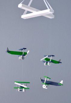 Airplane Baby Mobile Biplane Nursery Decor -  Navy White Gray Green
