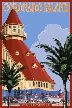 San Diego, California - Old Town - Hotel Del Coronado - Lantern Press Artwork Giclee Gallery Print, Wall Decor Travel Poster), Multi Road Trip Usa, Old Town Hotels, Old Town San Diego, Coronado Island, Hotel Del Coronado, Photo Vintage, Vintage Travel Posters, Belle Photo, Wyoming