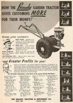 Gravely Mowers 413627546999054834 - 1947 Bready Walk Behind Garden Tractor Ad Solon, Ohio Antique Tractors, Vintage Tractors, Old Tractors, Lawn Equipment, Garden Equipment, Walk Behind Tractor, Garden Tractor Attachments, Mini Farm, Small Engine