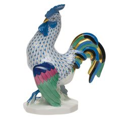 Herend Hand Painted Porcelain Figurine Small Rooster Blue Fishnet Gold Accents.