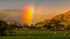 A rainbow over Bryncrug near Tywyn, Gwynedd.