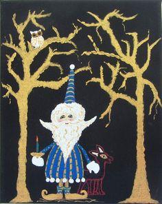Woodland Wizard Canvas Acrylic Original Art http://www.aegeansea.etsy.com #gnome art, #etsy gift ideas, aegeansea.etsy.com