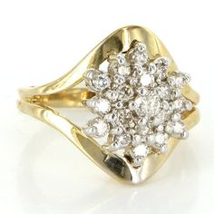 Vintage 14 Karat Yellow Gold Diamond Cluster Cocktail Ring Fine Estate Jewelry
