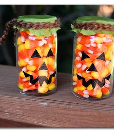 Candy Corn pumpkin jars - easy and cute, my kind of fall craft