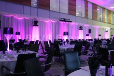 Transform large areas with high end moving head lighting, up-lights and lighting effects