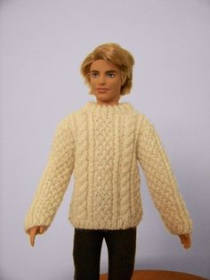 Fisherman cable crewneck sweater for Ken by angharadgruffyd