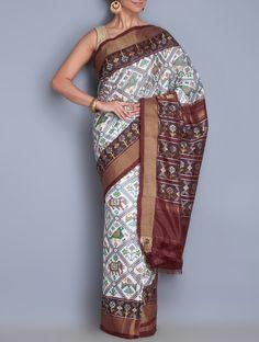 410e8e04604faa Buy White Multi Color Silk Zari Ikat Handwoven Saree Sarees Woven Golconda  Glory Tussar Cotton &