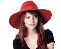 b2d78290a54 Wide Brimmed Hat Red Fedora Hat Fall Fashion Fall Accessories Wide Brimmed  Fedora Fall Hat Women s H